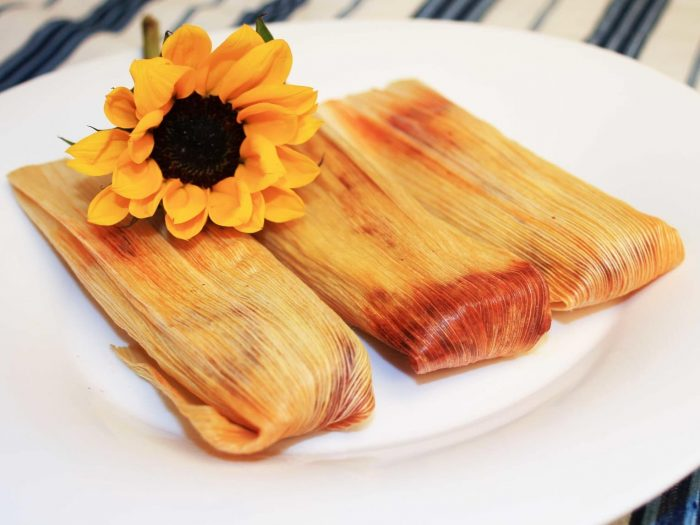 Hibiscus Flower Tamales with Red Chili Sauce