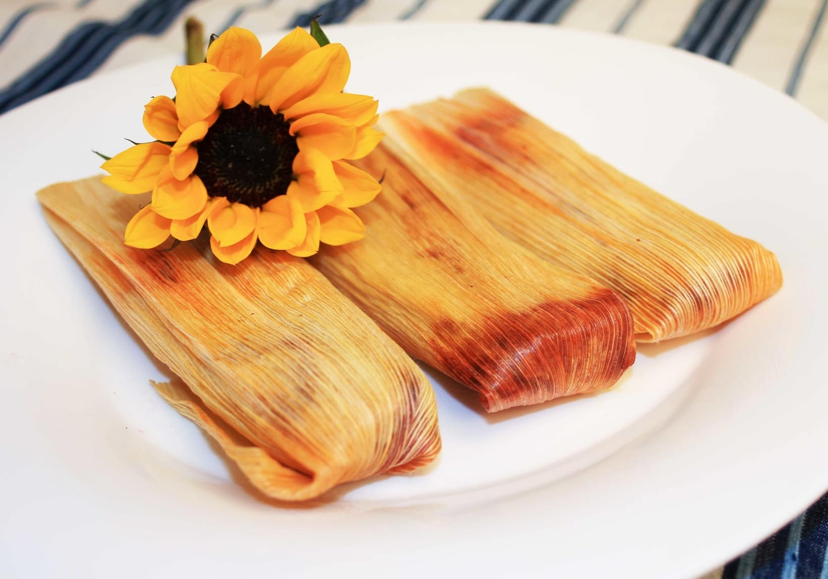 Hibiscus Flower Tamales With Red Chili