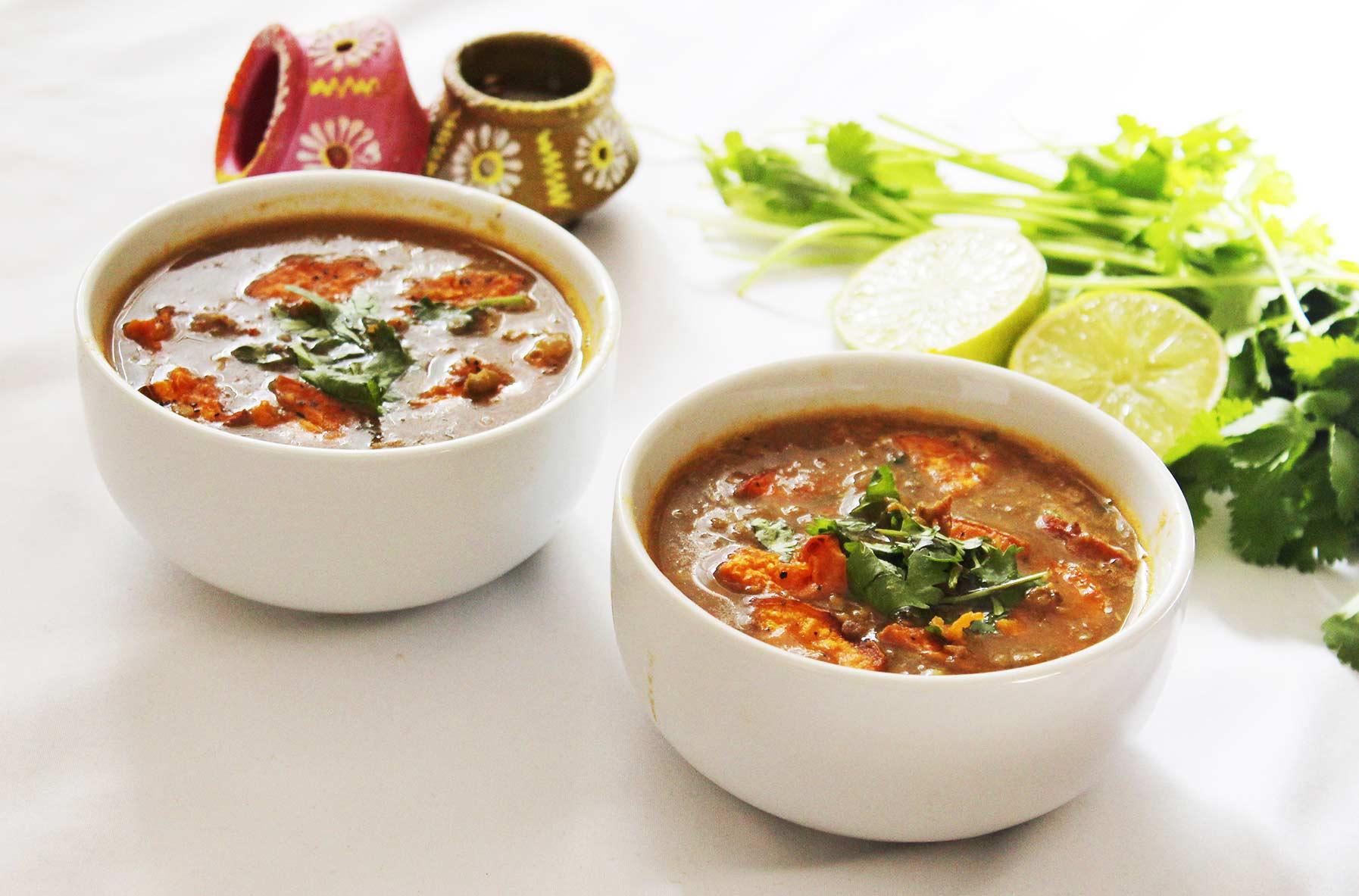Frijol mungo con sopa de verduras