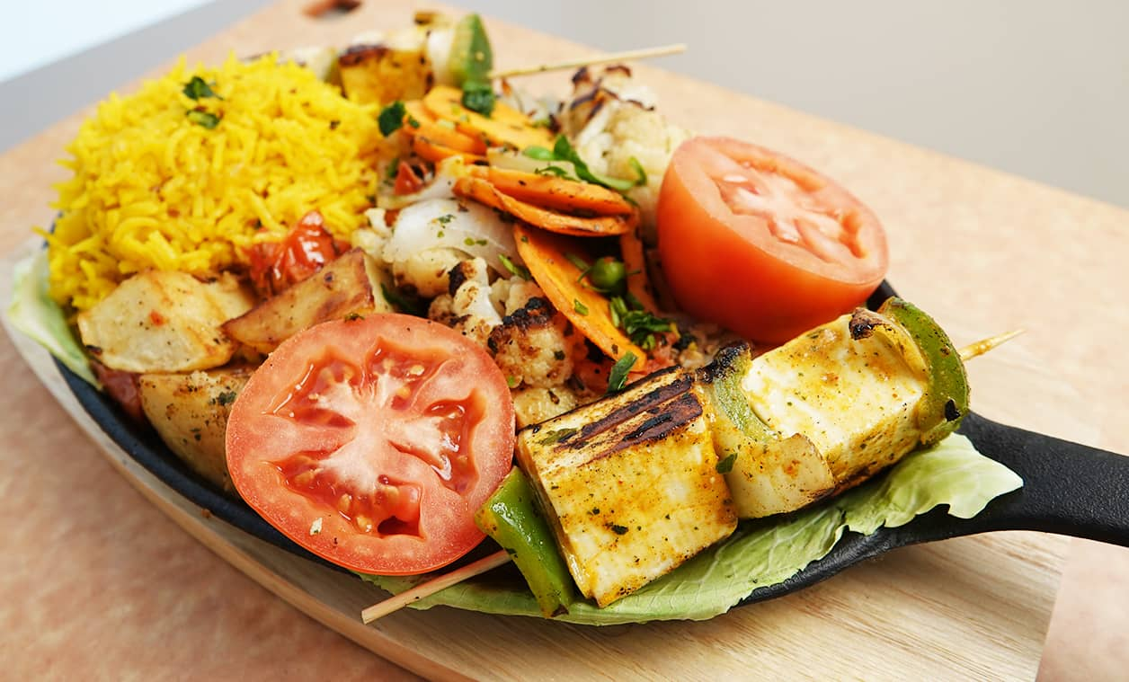 Paneer Sizzler with Yellow Rice and Veggies