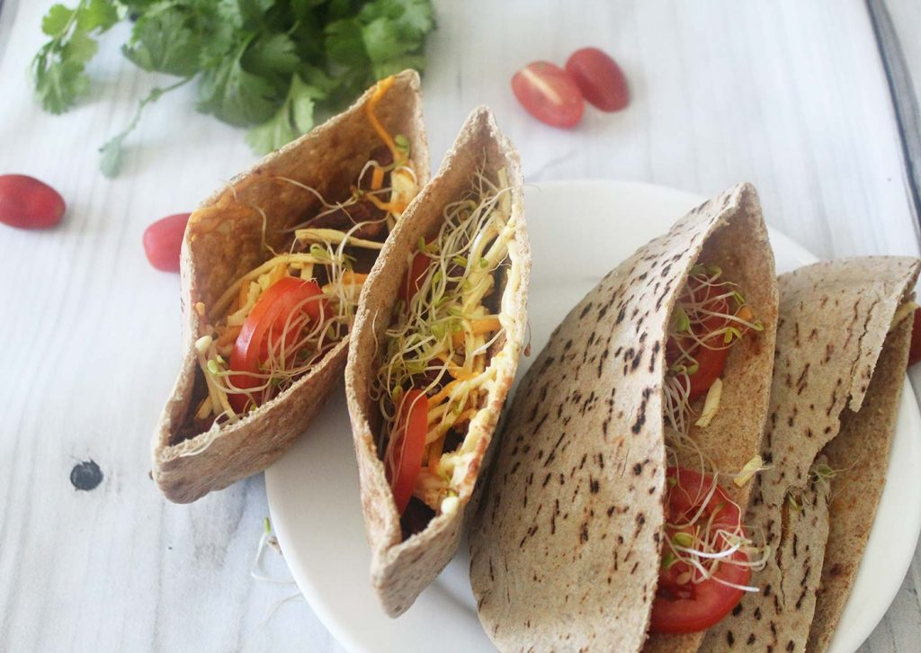Smashed Bean Pita Sandwiches