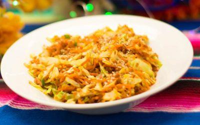 Tazón de vegetales y carne de soya