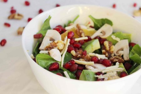 Pomegranate orange and spinach salad