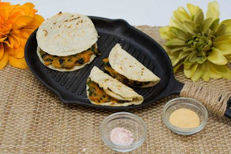 Sweet Potato Quesadillas with Kale